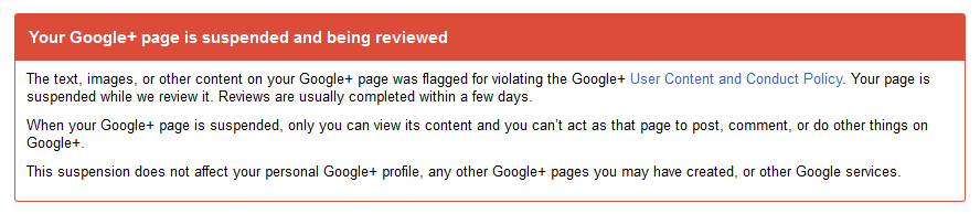 google+ page suspended