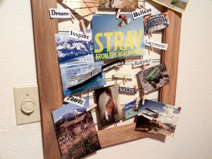 Closeup of bottom of vision board