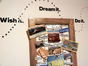 Close up top of completed vision board